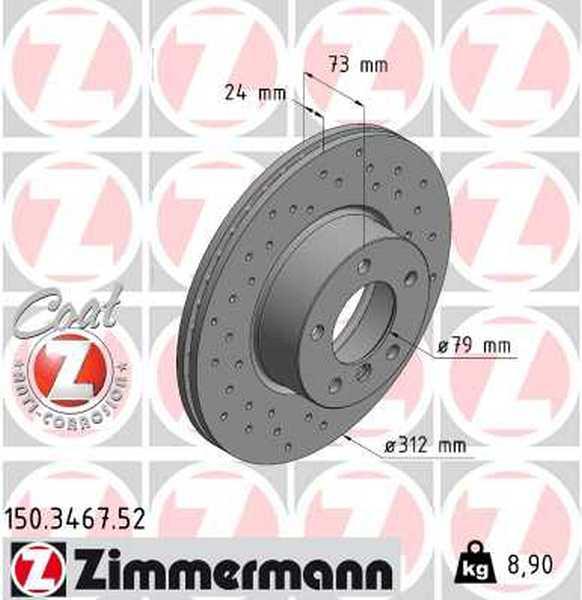 2x ZIMMERMANN Bremsscheiben COAT Z