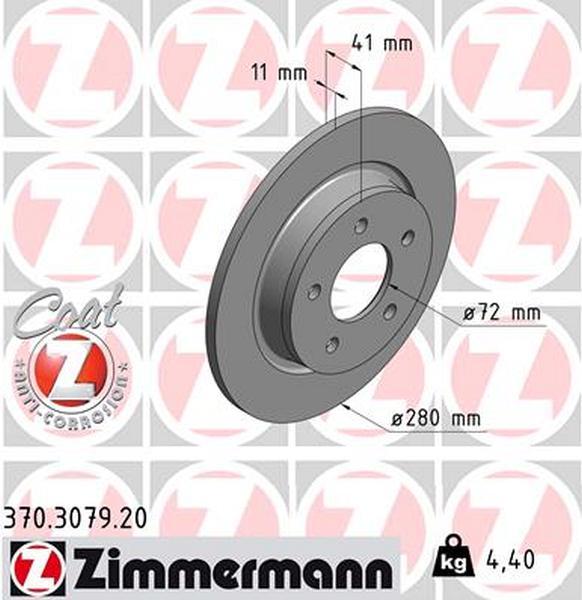zimmermann bremsscheibe für mazda 3 (bk) hinten - bremsscheiben