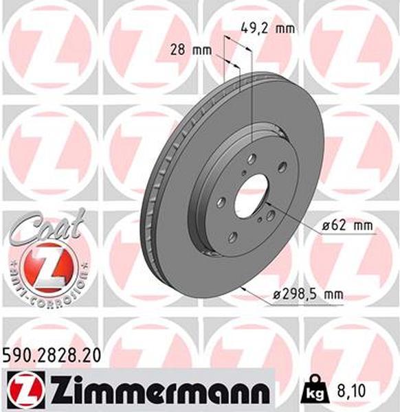 ZIMMERMANN Bremsscheibe Bremsscheiben Satz Bremsen COAT Z Vorne 590.2828.20