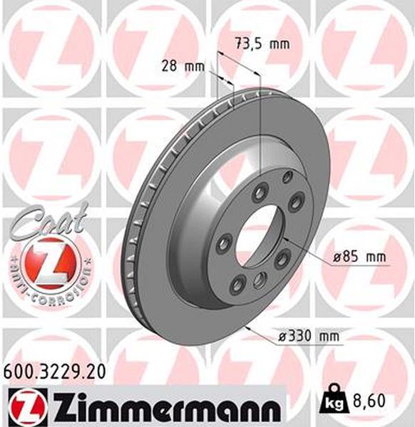 Zimmermann Brake Disc for VW TOUAREG (7P5, 7P6) rear