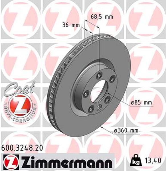 Zimmermann Brake Disc for VW TOUAREG (7P5, 7P6) front right